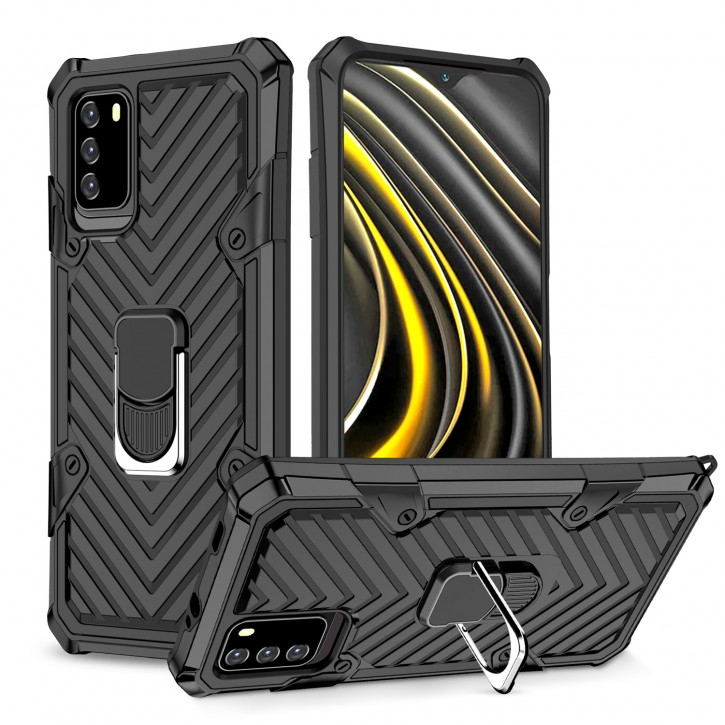 COOVY® Cover für Xiaomi Poco M3 Hülle Case PC + TPU-Silikon, extra stark, Anti-Shock, Stand Funktion + Haltering + Magnethalter kompatibel |