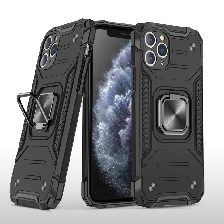 COOVY® Cover für Apple iPhone 11 pro Max Hülle Case PC + TPU-Silikon, extra stark, Anti-Shock, Stand Funktion + Haltering + Magnethalter kompatibel  