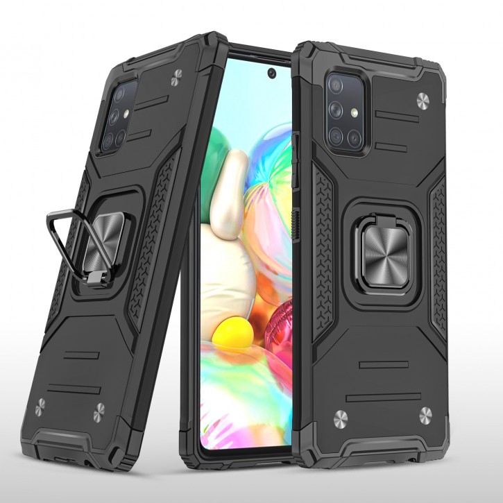 COOVY® Cover für Samsung Galaxy A71 SM-A715F/DS, SM-A715F/DSN Hülle Case PC + TPU-Silikon, extra stark, Anti-Shock, Stand Funktion + Haltering + Magnethalter kompatibel |