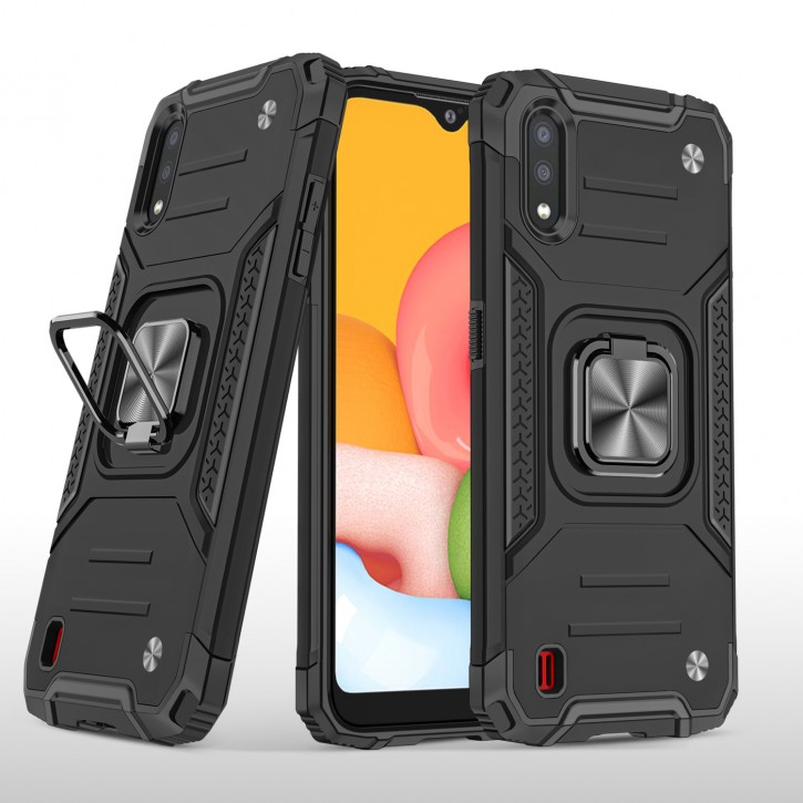 COOVY® Cover für Samsung Galaxy A01 SM-A015F/DS Hülle Case PC + TPU-Silikon, extra stark, Anti-Shock, Stand Funktion + Haltering + Magnethalter kompatibel |