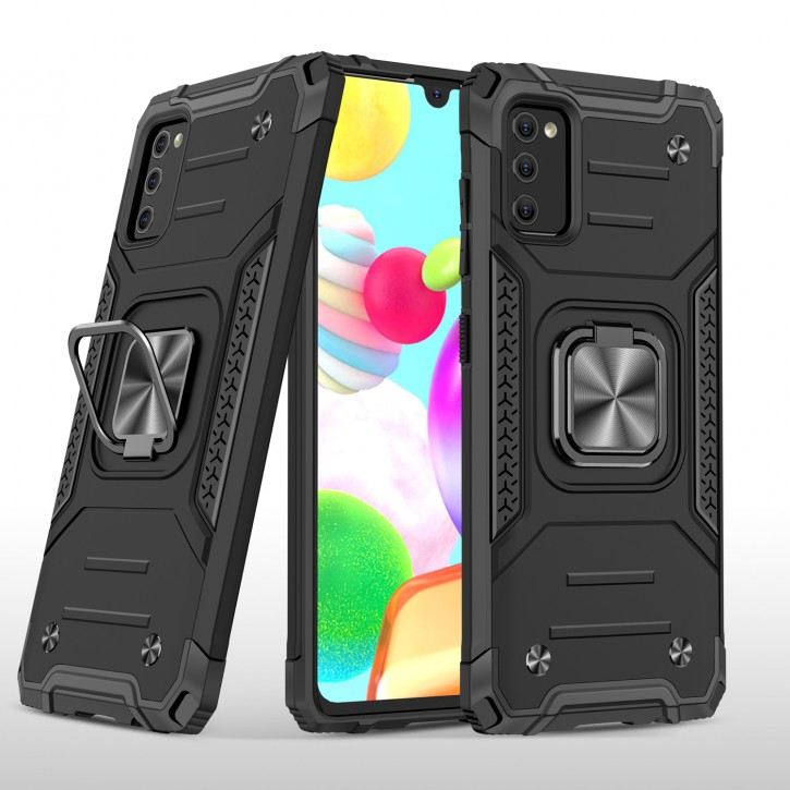 COOVY® Cover für Samsung Galaxy A41 SM-A415F/DSN Hülle Case PC + TPU-Silikon, extra stark, Anti-Shock, Stand Funktion + Haltering + Magnethalter kompatibel |