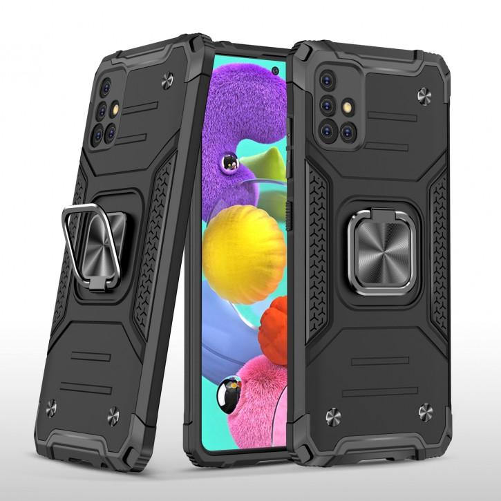 COOVY® Cover für Samsung Galaxy A51 5G SM-A516B/DS Hülle Case PC + TPU-Silikon, extra stark, Anti-Shock, Stand Funktion + Haltering + Magnethalter kompatibel  