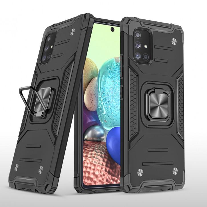 COOVY® Cover für Samsung Galaxy A71 5G SM-A716F Hülle Case PC + TPU-Silikon, extra stark, Anti-Shock, Stand Funktion + Haltering + Magnethalter kompatibel |