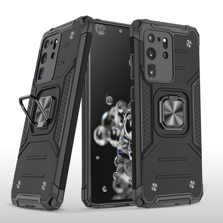 COOVY® Cover für Samsung Galaxy S20 Ultra SM-G988B/DS Hülle Case PC + TPU-Silikon, extra stark, Anti-Shock, Stand Funktion + Haltering + Magnethalter kompatibel |