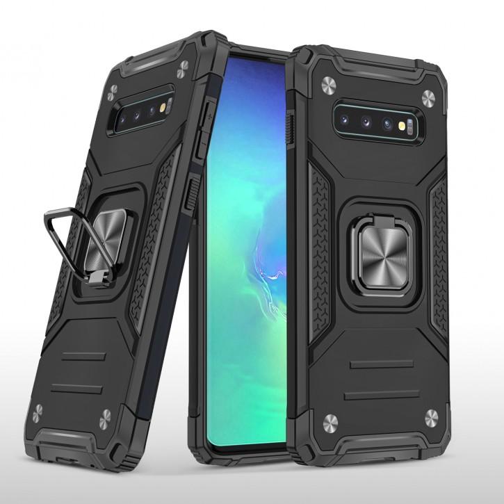 COOVY® Cover für Samsung Galaxy S10 SM-G973F Hülle Case PC + TPU-Silikon, extra stark, Anti-Shock, Stand Funktion + Haltering + Magnethalter kompatibel  