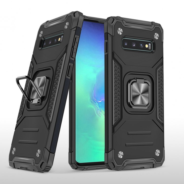 COOVY® Cover für Samsung Galaxy S10 + plus SM-G975F Hülle Case PC + TPU-Silikon, extra stark, Anti-Shock, Stand Funktion + Haltering + Magnethalter kompatibel |