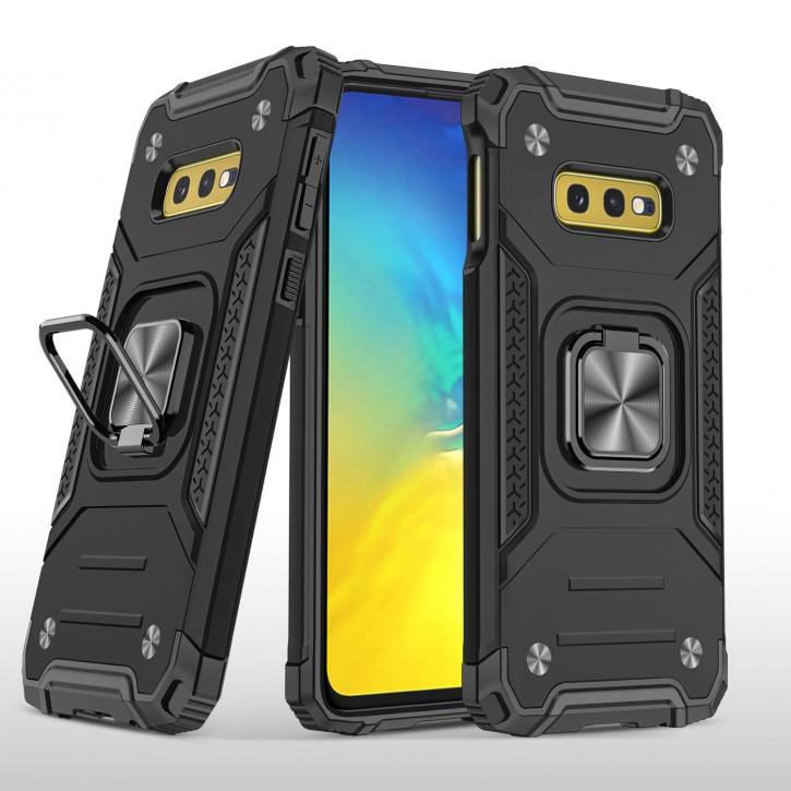 COOVY® Cover für Samsung Galaxy S10e SM-G970F Hülle Case PC + TPU-Silikon, extra stark, Anti-Shock, Stand Funktion + Haltering + Magnethalter kompatibel |