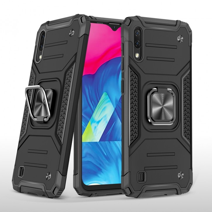 COOVY® Cover für Samsung Galaxy A10 SM-A105F/DS / M10 SM-M105F/DS  Hülle Case PC + TPU-Silikon, extra stark, Anti-Shock, Stand Funktion + Haltering + Magnethalter kompatibel |