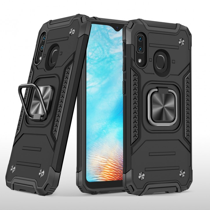 COOVY® Cover für Samsung Galaxy A20e SM-A202F/DS Hülle Case PC + TPU-Silikon, extra stark, Anti-Shock, Stand Funktion + Haltering + Magnethalter kompatibel |