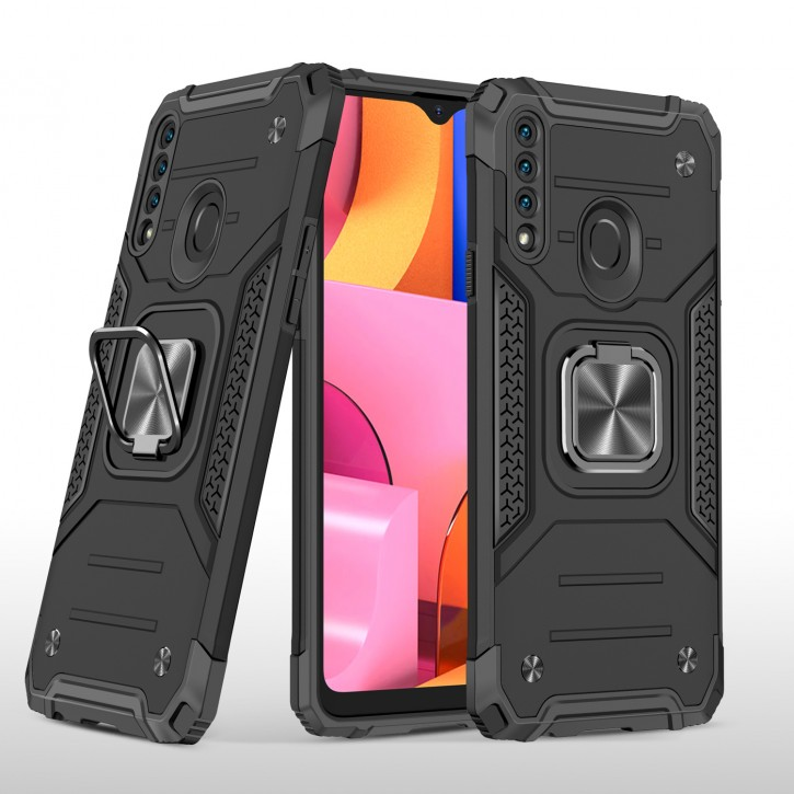 COOVY® Cover für Samsung Galaxy A20s SM-A207F/DS  Hülle Case PC + TPU-Silikon, extra stark, Anti-Shock, Stand Funktion + Haltering + Magnethalter kompatibel |