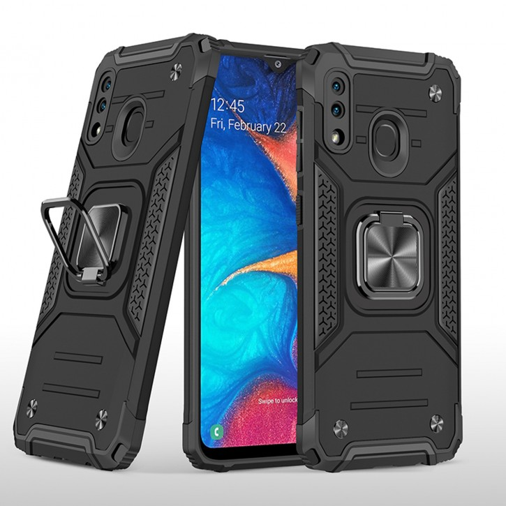 COOVY® Cover für Samsung Galaxy A20 SM-A205F/DS / A30 SM-A305F/DS Hülle Case PC + TPU-Silikon, extra stark, Anti-Shock, Stand Funktion + Haltering + Magnethalter kompatibel |