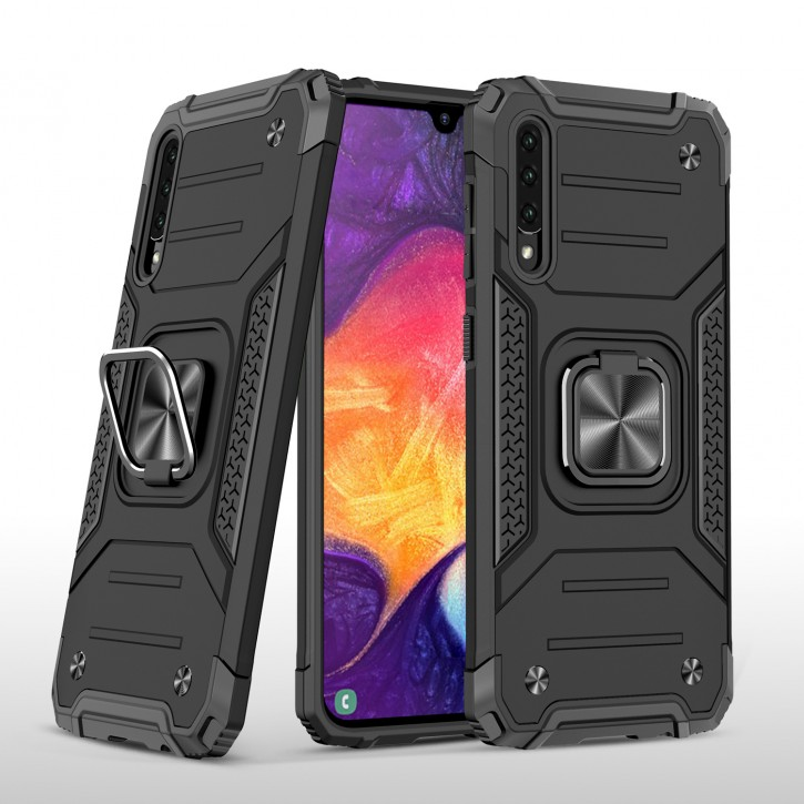 COOVY® Cover für Samsung Galaxy A50 SM-A505F/DS / A30s SM-A307FN/DS Hülle Case PC + TPU-Silikon, extra stark, Anti-Shock, Stand Funktion + Haltering + Magnethalter kompatibel |