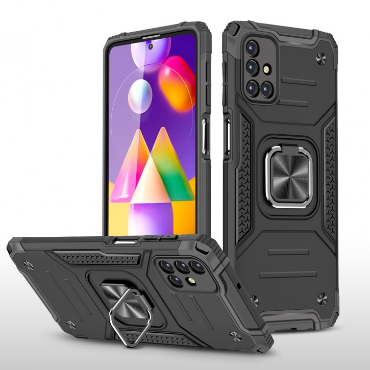 COOVY® Cover für Samsung Galaxy M31s SM-M317F Hülle Case PC + TPU-Silikon, extra stark, Anti-Shock, Stand Funktion + Haltering + Magnethalter kompatibel |