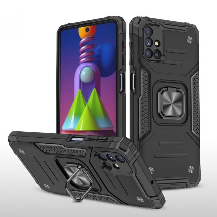 COOVY® Cover für Samsung Galaxy M51 SM-M515F/DSN Hülle Case PC + TPU-Silikon, extra stark, Anti-Shock, Stand Funktion + Haltering + Magnethalter kompatibel |