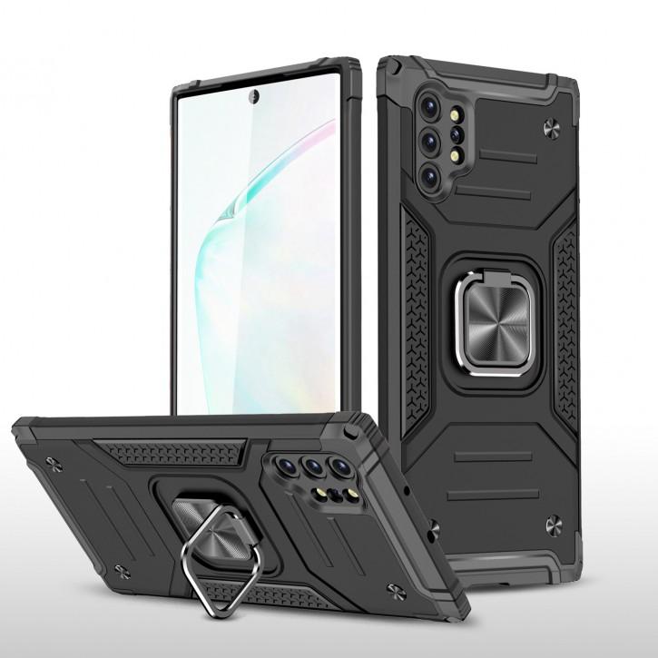 COOVY® Cover für Samsung Galaxy Note 10 + plus SM-N975F / SM-N976F Hülle Case PC + TPU-Silikon, extra stark, Anti-Shock, Stand Funktion + Haltering + Magnethalter kompatibel |
