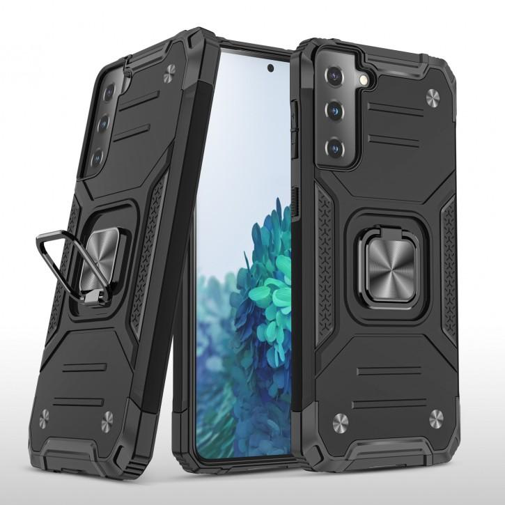 COOVY® Cover für Samsung Galaxy S21 5G SM-G991 Hülle Case PC + TPU-Silikon, extra stark, Anti-Shock, Stand Funktion + Haltering + Magnethalter kompatibel |