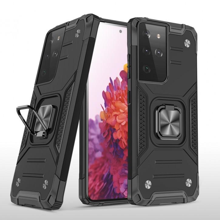 COOVY® Cover für Samsung Galaxy S21 Ultra SM-G998B Hülle Case PC + TPU-Silikon, extra stark, Anti-Shock, Stand Funktion + Haltering + Magnethalter kompatibel |