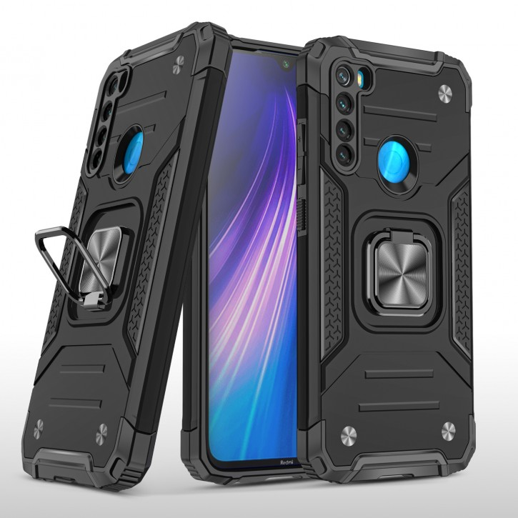 COOVY® Cover für Xiaomi Redmi Note 8 Hülle Case PC + TPU-Silikon, extra stark, Anti-Shock, Stand Funktion + Haltering + Magnethalter kompatibel |