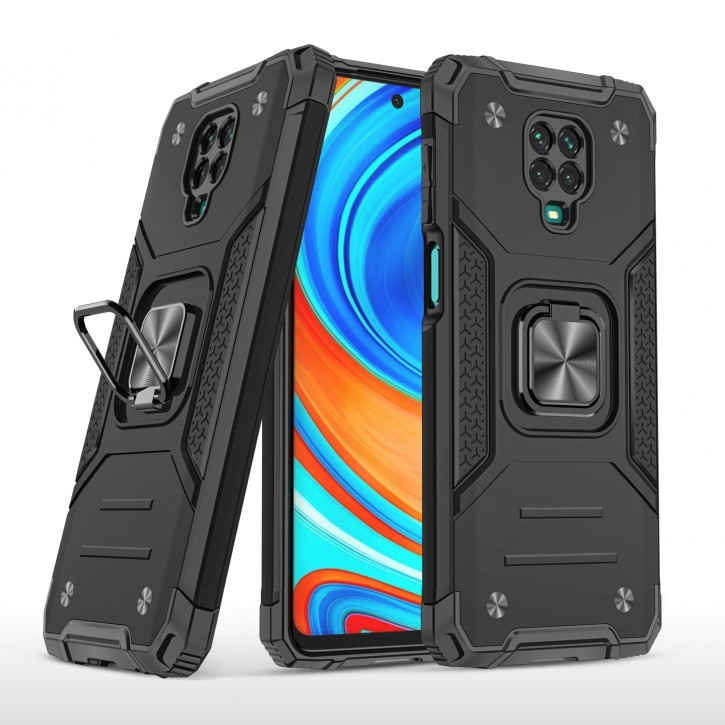 COOVY® Cover für Xiaomi Redmi Note 9S / Note 9 Pro / Note 9 Pro Max Hülle Case PC + TPU-Silikon, extra stark, Anti-Shock, Stand Funktion + Haltering + Magnethalter kompatibel |