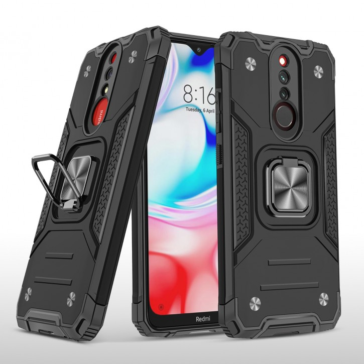COOVY® Cover für Xiaomi Redmi 8 / 8A / 8A Pro Hülle Case PC + TPU-Silikon, extra stark, Anti-Shock, Stand Funktion + Haltering + Magnethalter kompatibel |