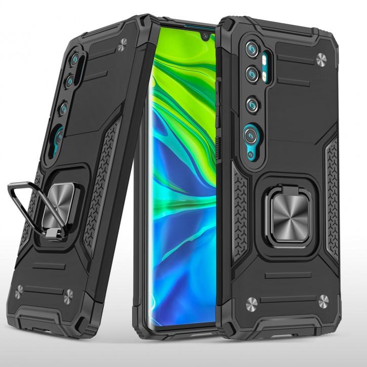 COOVY® Cover für Xiaomi Mi Note 10 / Note 10 Pro Hülle Case PC + TPU-Silikon, extra stark, Anti-Shock, Stand Funktion + Haltering + Magnethalter kompatibel |