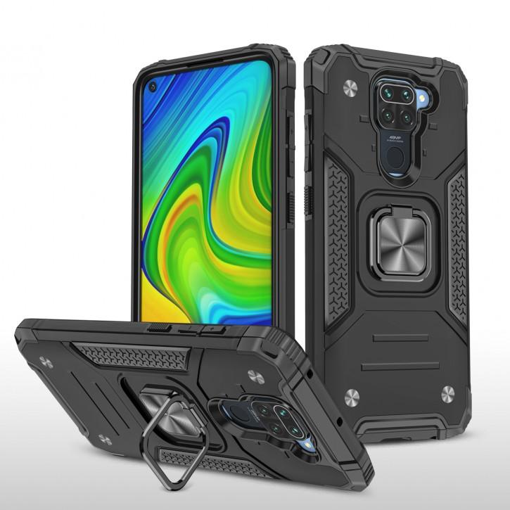 COOVY® Cover für Xiaomi Redmi Note 9 Hülle Case PC + TPU-Silikon, extra stark, Anti-Shock, Stand Funktion + Haltering + Magnethalter kompatibel |