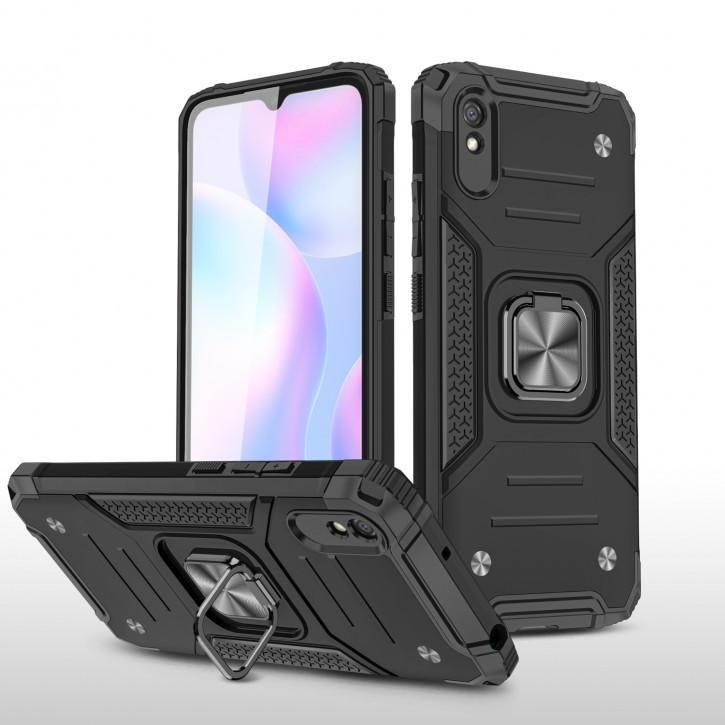 COOVY® Cover für Xiaomi Redmi 9A Hülle Case PC + TPU-Silikon, extra stark, Anti-Shock, Stand Funktion + Haltering + Magnethalter kompatibel |