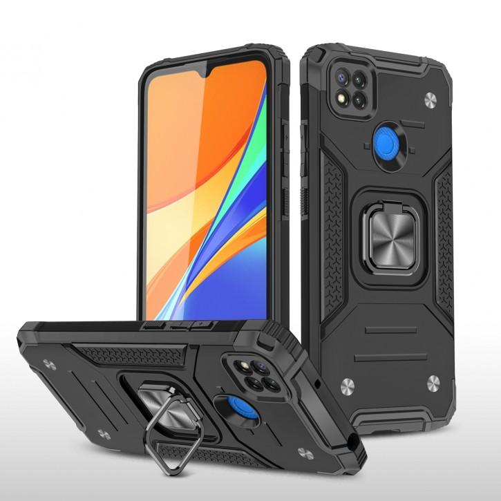 COOVY® Cover für Xiaomi Redmi 9c Hülle Case PC + TPU-Silikon, extra stark, Anti-Shock, Stand Funktion + Haltering + Magnethalter kompatibel |