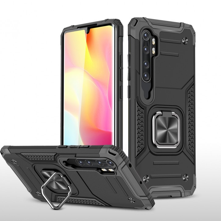 COOVY® Cover für Xiaomi Mi Note 10 Lite Hülle Case PC + TPU-Silikon, extra stark, Anti-Shock, Stand Funktion + Haltering + Magnethalter kompatibel |