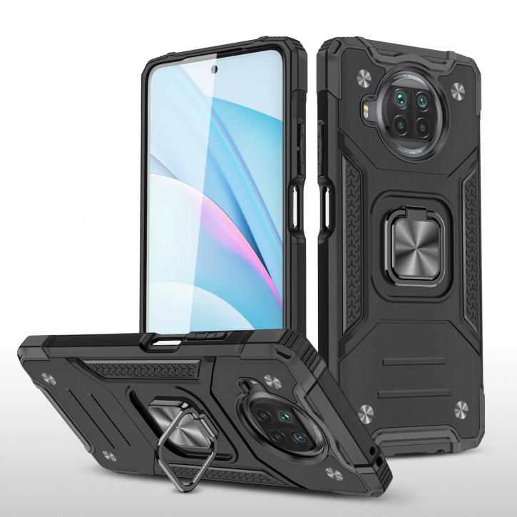 COOVY® Cover für Xiaomi Mi 10T Lite 5G Hülle Case PC + TPU-Silikon, extra stark, Anti-Shock, Stand Funktion + Haltering + Magnethalter kompatibel |