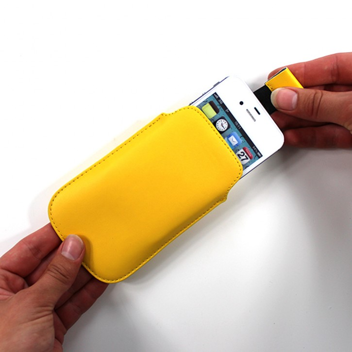 PULL TAB COVER für APPLE iPhone 4/4s TASCHE SCHÜTZHÜLLE ETUI SLIM HÜLLE Farbe Gelb