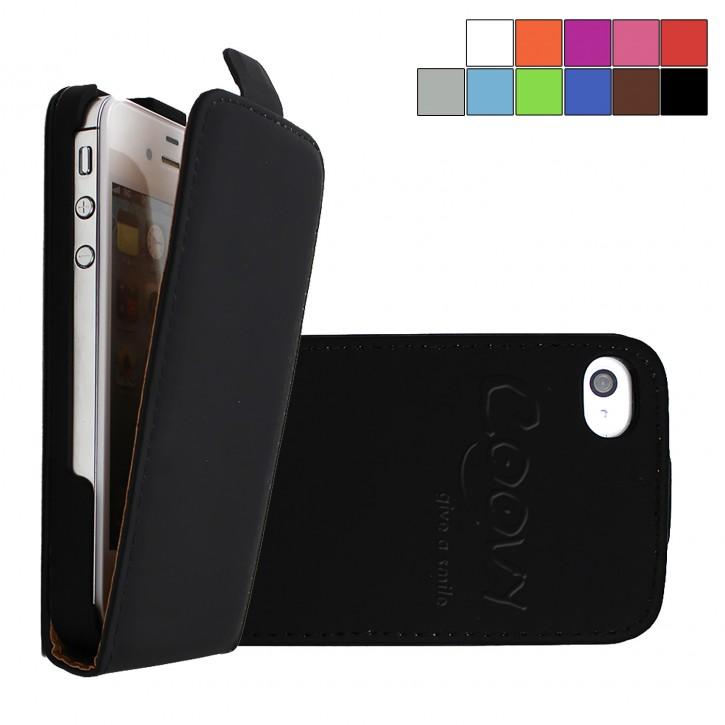 COOVY® Cover für Apple iPhone 4 / 4s Slim Flip Case Tasche Etui inklusive gratis Displayschutzfolie