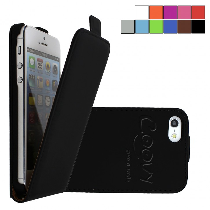 COOVY® Cover für Apple iPhone 5 / 5s / SE Slim Flip Case Tasche Etui inklusive gratis Displayschutzfolie