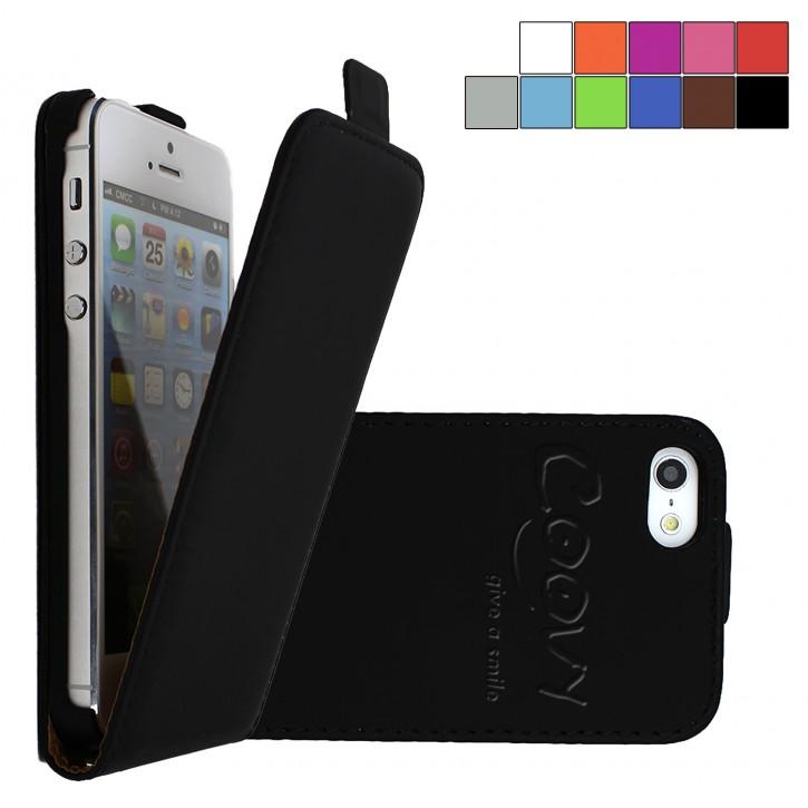COOVY® Cover für Apple iPhone 5 / 5s / SE Slim Flip Case Hülle Tasche Etui inklusive gratis Displayschutzfolie |
