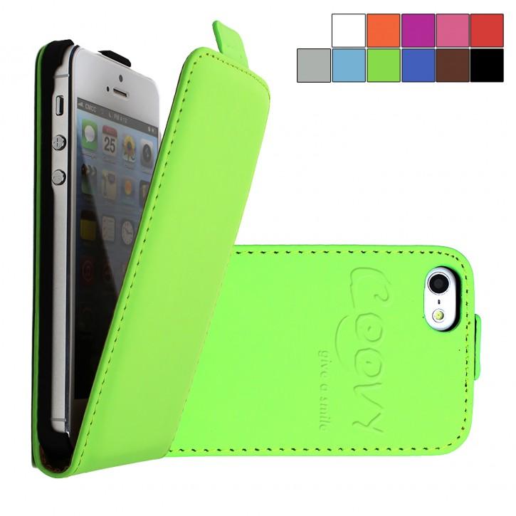 COOVY® Cover für Apple iPhone 5c Slim Flip Case Tasche Etui inklusive gratis Displayschutzfolie | Farbe grün