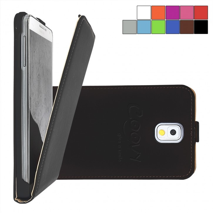COOVY® Cover für Samsung Galaxy Note 3 GT-N9000 GT-N9002 GT-N9005 GT-N9006 GT-N9009 Slim Flip Case Tasche Etui inklusive gratis Displayschutzfolie