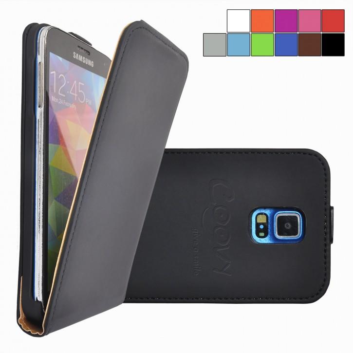 COOVY® Cover für Samsung Galaxy S5 SM-G900F SM-G901F Neo SM-G903F Slim Flip Case Tasche Etui inklusive gratis Displayschutzfolie