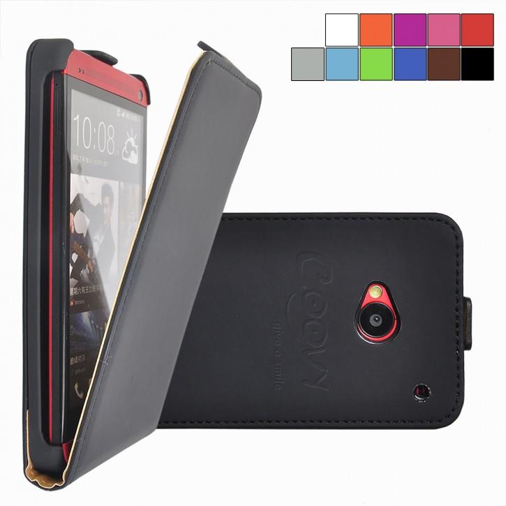 COOVY® Cover für HTC ONE M7 Slim Flip Case Tasche Etui inklusive gratis Displayschutzfolie