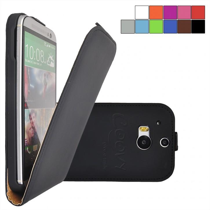 COOVY® Cover für HTC ONE M8 Slim Flip Case Tasche Etui inklusive gratis Displayschutzfolie