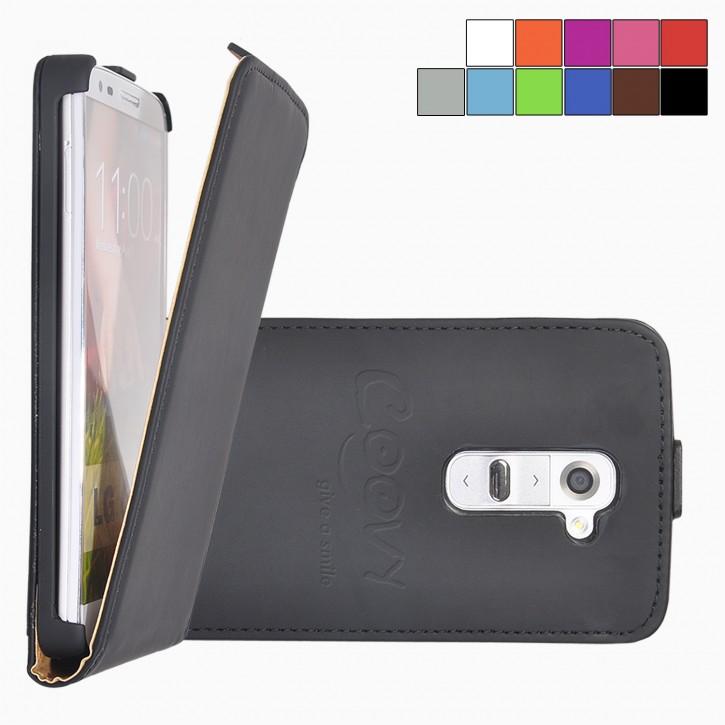 COOVY® Cover für LG G2 D802 Slim Flip Case Tasche Etui inklusive gratis Displayschutzfolie