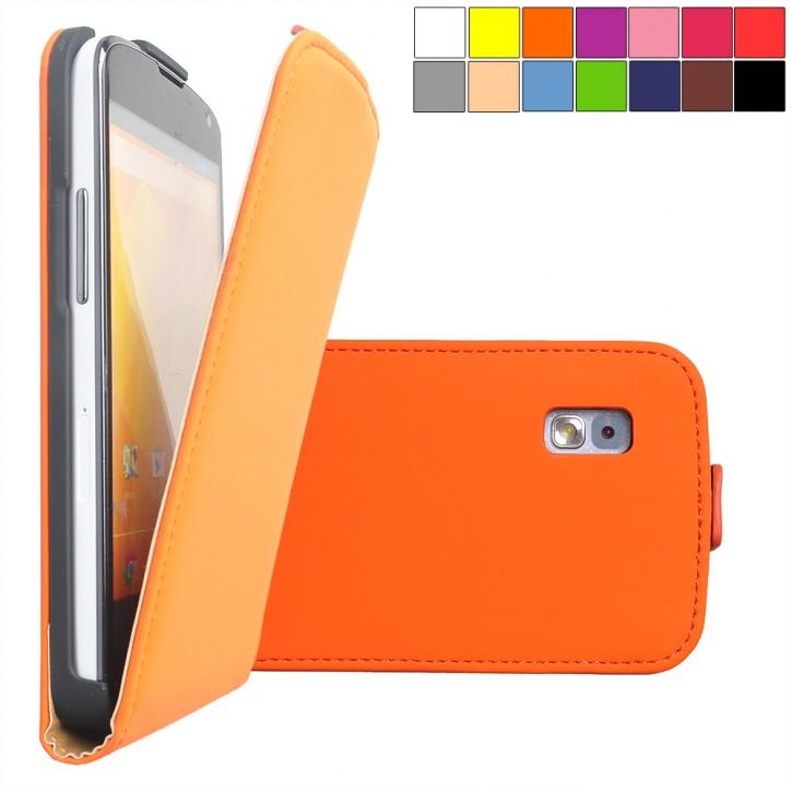 COOVY® Cover für LG LG Google Nexus 4 E960 Slim Flip Case Tasche Etui inklusive gratis Displayschutzfolie | Farbe orange