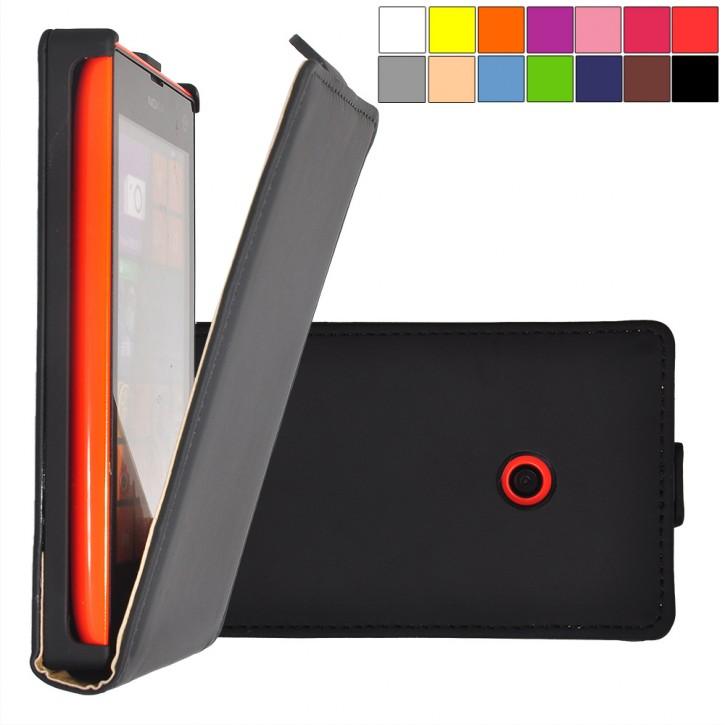COOVY® Cover für Nokia Lumia 520 / 521 / 525 Slim Flip Case Hülle Tasche Etui inklusive gratis Displayschutzfolie |