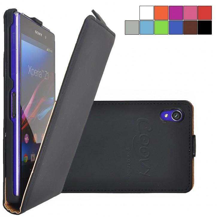 COOVY® Cover für Sony Xperia Z1 LT39h L39h Slim Flip Case Tasche Etui inklusive gratis Displayschutzfolie