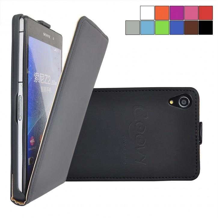 COOVY® Cover für Sony Xperia Z2 D6502 D6503 Slim Flip Case Tasche Etui inklusive gratis Displayschutzfolie