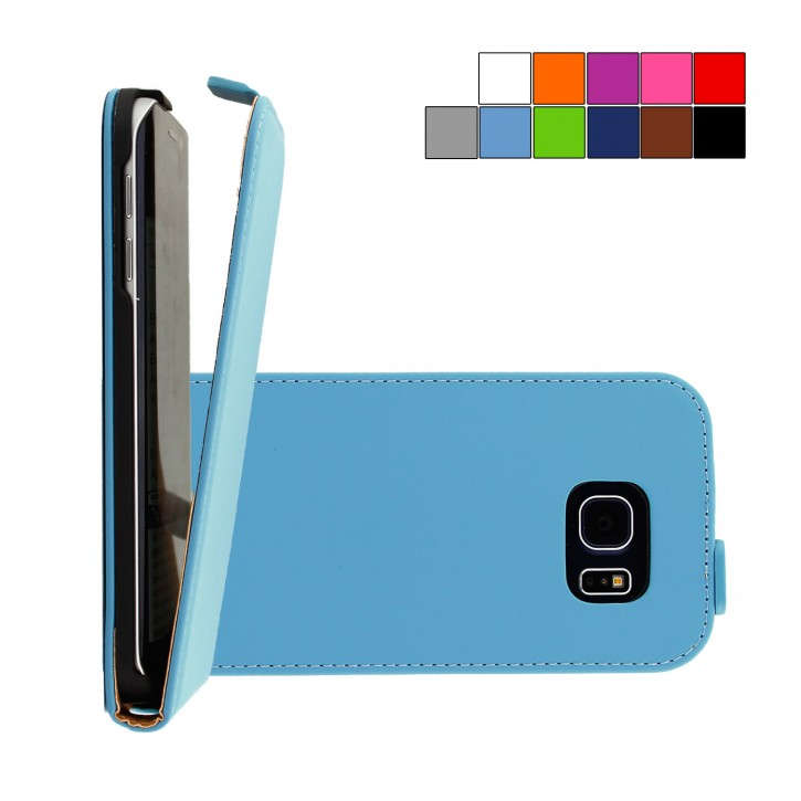 COOVY® Cover für Samsung Galaxy S6 EDGE SM-G925F SM-G925 Slim Flip Case Tasche Etui inklusive gratis Displayschutzfolie | Farbe hellblau