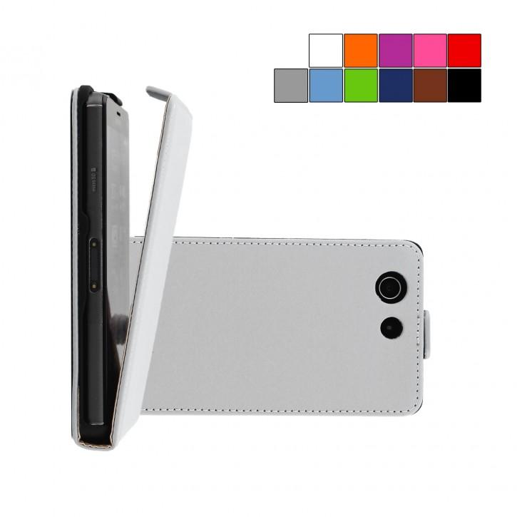 COOVY® Cover für Sony Xperia Z3 Compact D5803 D5833 Slim Flip Case Tasche Etui inklusive gratis Displayschutzfolie | Farbe weiss