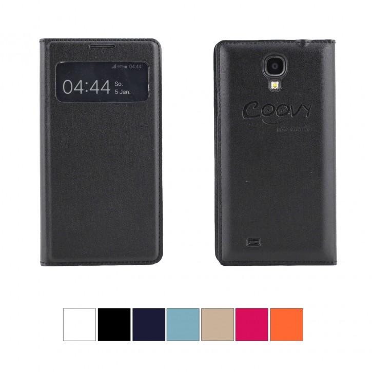 COOVY® Cover für Samsung Galaxy S4 GT-i9500 GT-i9505 GT-i9506 Ultra dünnes Fenster View Case Schutz Hülle Sichtfenster + Displayschutzfolie |