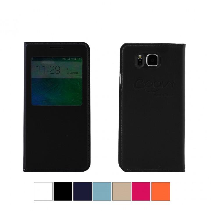 COOVY® Cover für Samsung Galaxy Alpha SM-G850 SM-G850F Ultra dünnes Fenster View Case Schutz Hülle Sichtfenster + Displayschutzfolie  