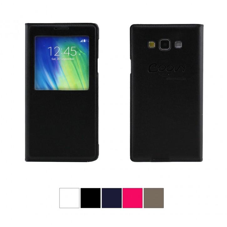 COOVY® Cover für Samsung Galaxy A7 SM-A700 / SM-A700F (Model 2015) Ultra dünnes Fenster View Case Schutz Hülle Sichtfenster + Displayschutzfolie |
