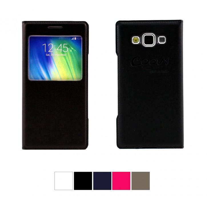 COOVY® Cover für Samsung Galaxy A5 SM-A500 / SM-A500F (Model 2015) Ultra dünnes Fenster View Case Schutz Hülle Sichtfenster + Displayschutzfolie |